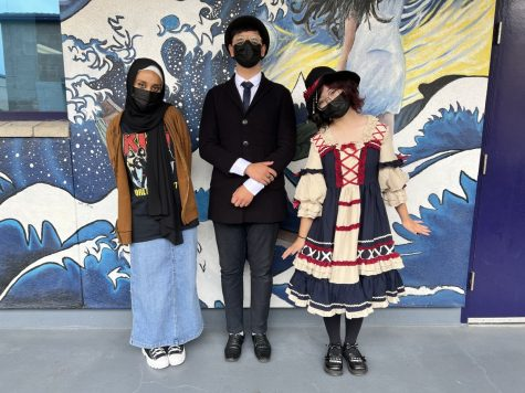 RCHS students Noor Muhammad, Beckett Xu, and Catherine Han in their fashion styles